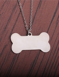 Fashion Steel Color Titanium Steel Stainless Steel Dog Tag Pendant Necklace