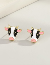 Fashion Cows Cow Resin Drip Oil Animal Earrings