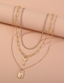 Fashion Gold Color Geometric Key Lock Pendant Alloy Multilayer Necklace