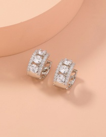 Fashion Silver Color Copper Inlaid Zircon Alloy Geometric Hollow Earrings
