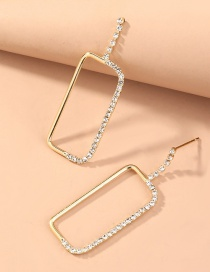 Fashion Gold Color Rectangle Geometric Earrings With Diamond Stitching