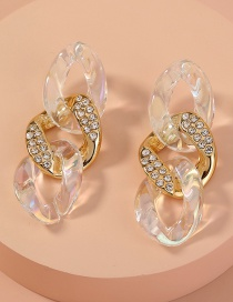 Fashion Gold Color Plastic Chain Diamond Alloy Earrings