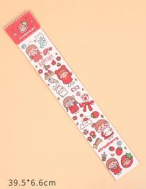 Fashion Long Strip Sticker-strawberry Girl (handmade Diy Cutting) Desktop Stationery Storage Display Classification Box Handmade Stickers