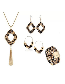 Fashion Combination 12 Leopard Print Resin Geometric Print Earrings Bracelet Necklace