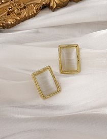 Fashion Gold Color Opal Square Alloy Earrings
