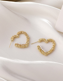 Fashion Gold Color Love Pearl Notch Alloy Earrings