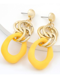 Fashion Yellow Multilayer Alloy Resin Irregular Hollow Earrings