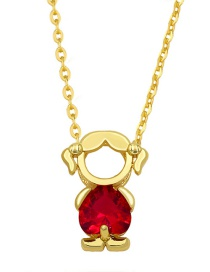 Fashion Girl Boy And Girl Pendant Necklace With Gold-plated Copper And Diamonds