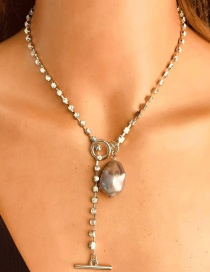 Fashion White K Claw Chain Shaped Pearl Pendant Necklace