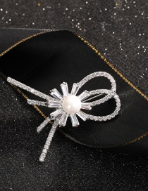 Fashion Bow Brooch Gold-plated Copper Brooch With Pearl And Diamond Bow