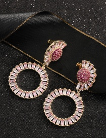 Fashion Red Gold-plated Copper Earrings With Diamonds And Flowers
