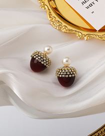 Fashion Red Christmas Cherry And Diamond Pearl Earrings
