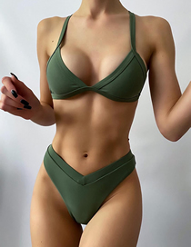 Fashion Dark Green Solid Color Stitching Split Swimsuit
