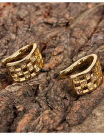 Fashion Golden Diamond-studded Geometric Square Without Pierced Ears