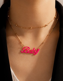 Fashion Golden Round Bead Chain Alloy Letter Double Necklace