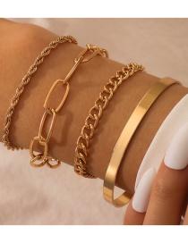 Fashion Golden Thick Chain Geometric Alloy Bracelet Set