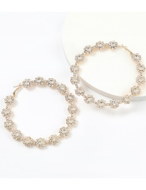 Fashion Golden Claw Chain Alloy Diamond Flower Round Earrings