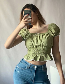 Fashion Green Check Tie Short Sleeve Shirt With Bow