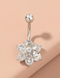 Fashion Silver Navel Nails With Fringed Flowers And Diamonds