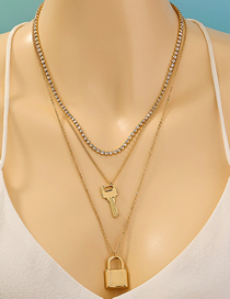 Fashion Golden Lock Shape Key Diamond Claw Chain Multilayer Necklace