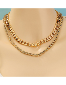 Fashion Golden Twist Chain Alloy Double Necklace
