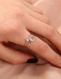 Fashion Silver Micro-set Zircon Star And Moon Adjustable Ring