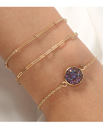 Fashion Purple Crystal Cluster Lattice Chain Round Alloy Multilayer Bracelet
