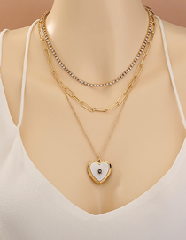 Fashion Golden Love Heart Diamond Alloy Multilayer Necklace