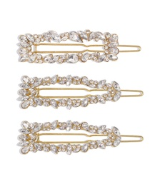 Fashion Golden Three-piece Alloy Diamond Hair Clip