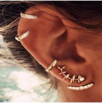 Conjunto De Pendientes Colgantes Traseros De Diamantes De Imitación Completos De Espina De Pez Geométrica