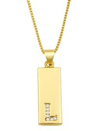 Fashion L Gold Geometric Rectangle Letter Necklace With Diamonds