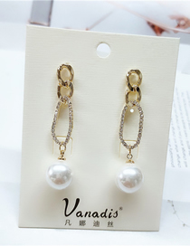 Fashion White Diamond And Pearl Geometric Alloy Hollow Stud Earrings