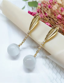 Fashion White Pearl And Diamond Geometric Alloy Earrings