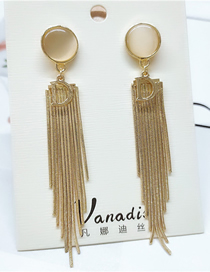 Fashion Yellow Long Tassel Alloy Long Earrings