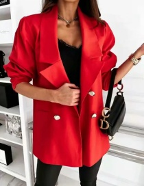 Fashion Red Lapel Double-breasted Blazer