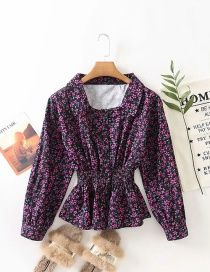 Fashion Purple Floral Print Top With Hem Waist