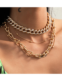 Fashion Golden Round Bead U-shaped Buckle Necklace With Diamonds And Cuban Buckle