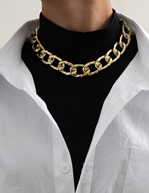 Fashion Golden Single Layer Thick Chain Matte Ccb Buckle Necklace