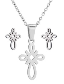 Fashion Silver Stainless Steel Chinese Knot Necklace And Earring Set