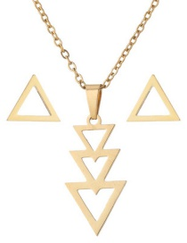 Fashion Gold Stainless Steel Geometric Triangle Earrings Necklace Set