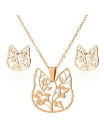 Fashion Gold Color Stainless Steel Hollow Flower Leaf Necklace And Earring Set