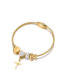 Fashion Gold Color Stainless Steel Cross Bracelet With Diamonds