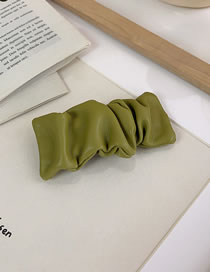 Fashion Matcha Green Leather Pleated Hairpin