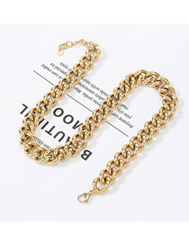 Fashion Gold Stainless Steel Cuban Chain Thick Necklace