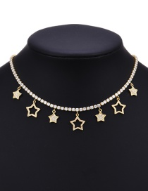 Fashion Gold Copper Inlaid Zirconium Five-pointed Star Necklace