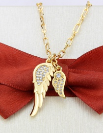 Fashion Gilded Zircon Size Wings Gold-plated Feather Copper Pendant Necklace