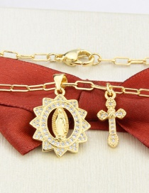 Fashion Gilded Oval Madonna Gold-plated Zircon Cross Necklace
