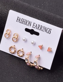 Fashion Color Mixing Geometric Dripping Pearl Alloy Earrings Set