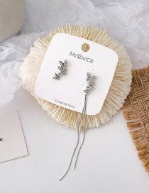 Fashion Silver Asymmetric Butterfly Tassel Earrings