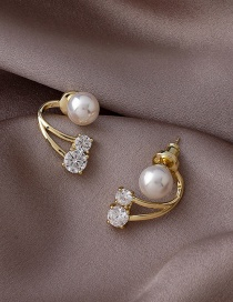 Fashion Golden Pearl Curved Diamond Back Hanging Earrings